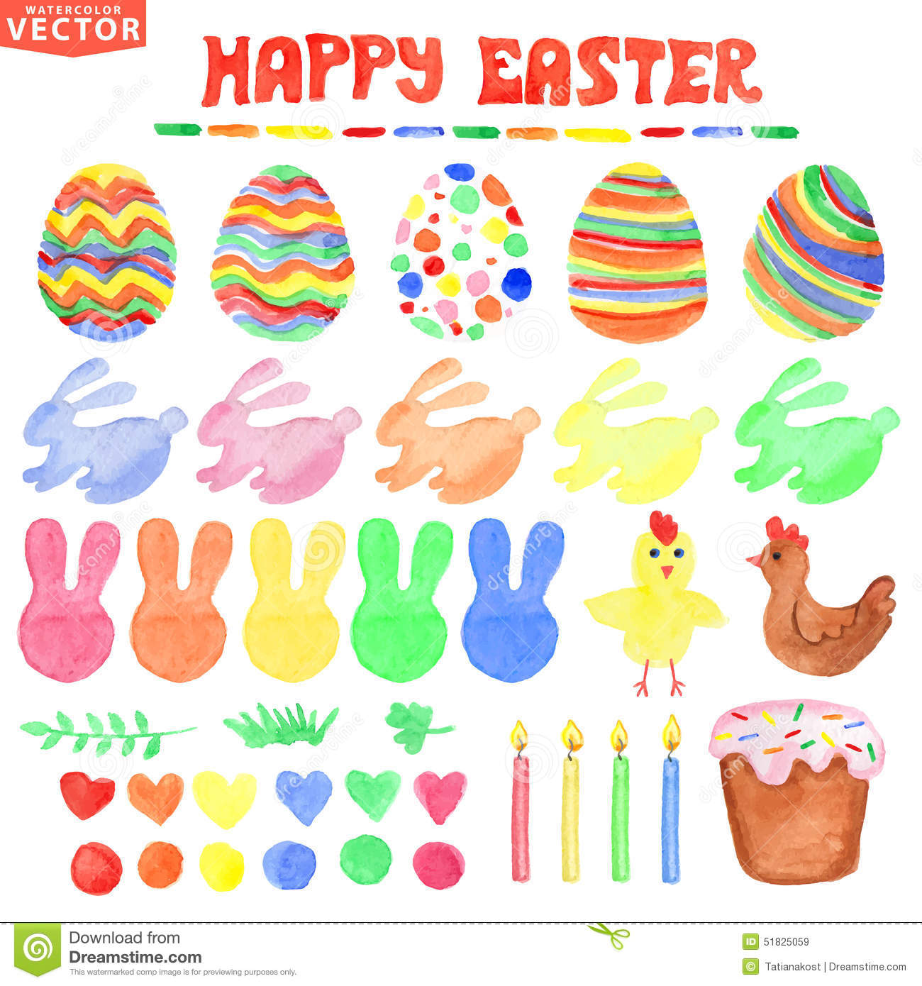 Easter Watercolor Set.Cute Isolated Decor Clipart Stock Vector.