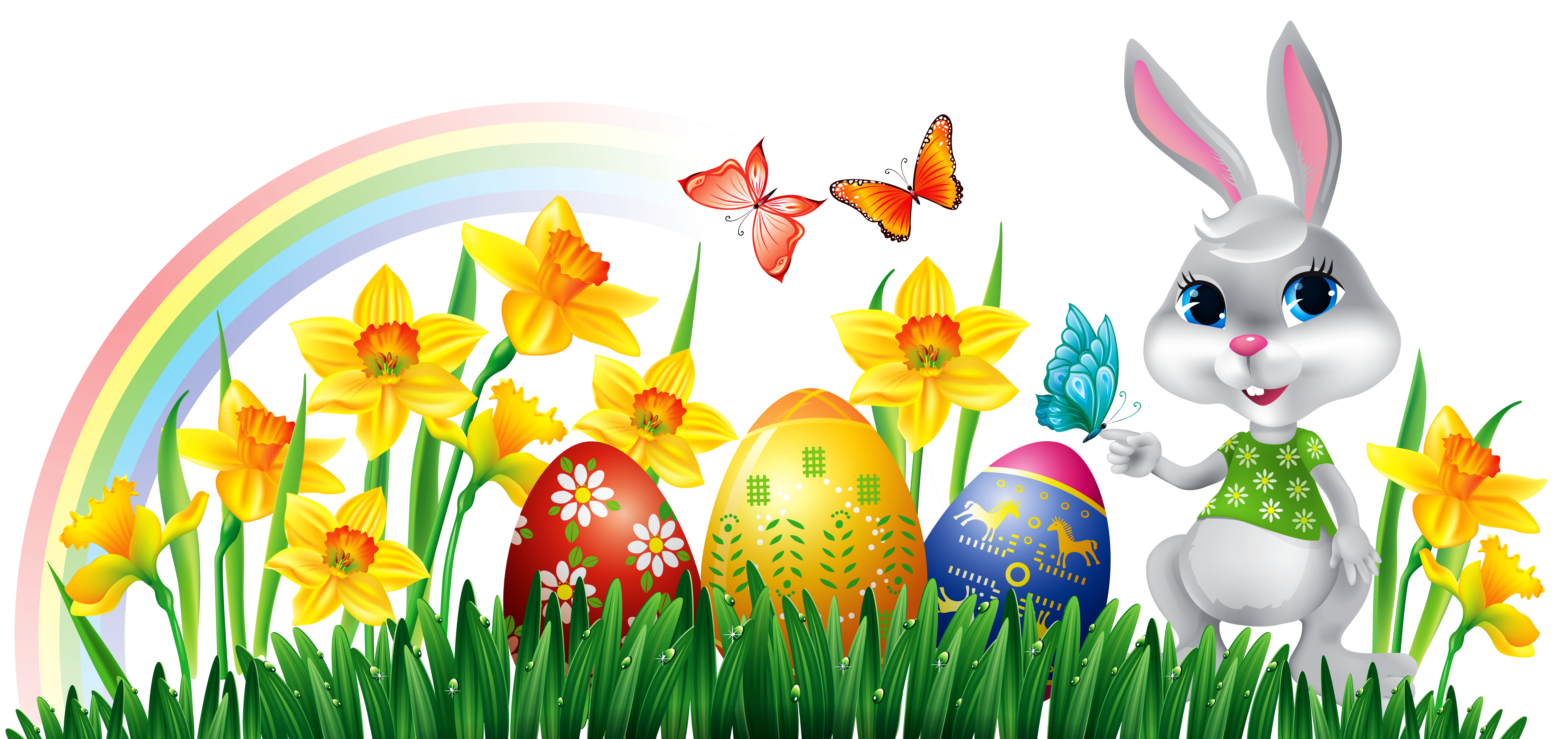 Easter Bunny with Daffodils Eggs and Grass Decor PNG Clipart Picture.