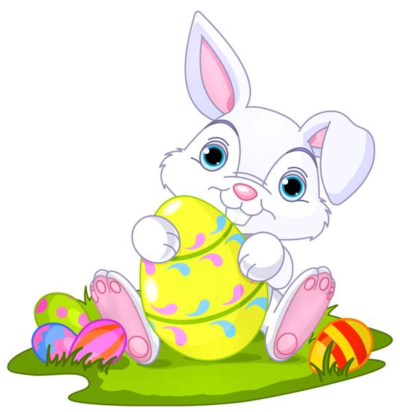 Easter Bunny with Eggs Decor PNG Clipart Picture.