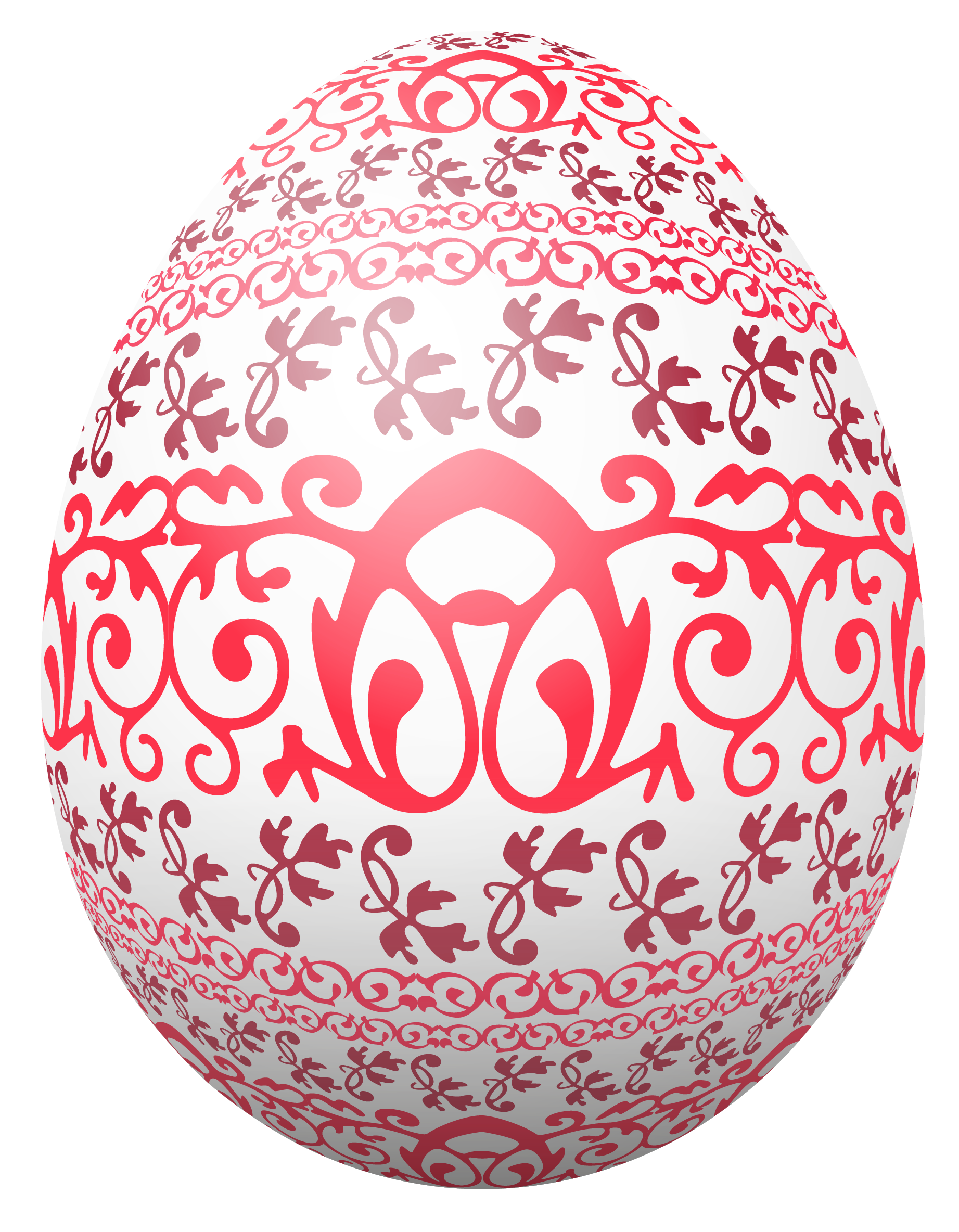 Easter White Egg with Red Decoration PNG Clipart Picture.