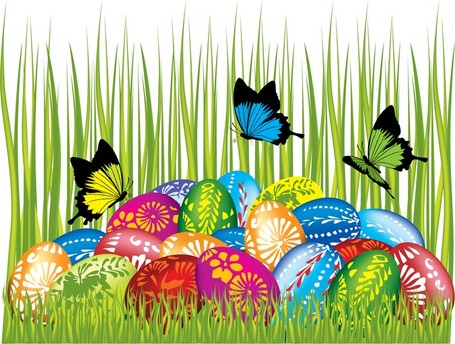 Easter Cards And Decorations Butterfly Eggs 04, Vector Images.