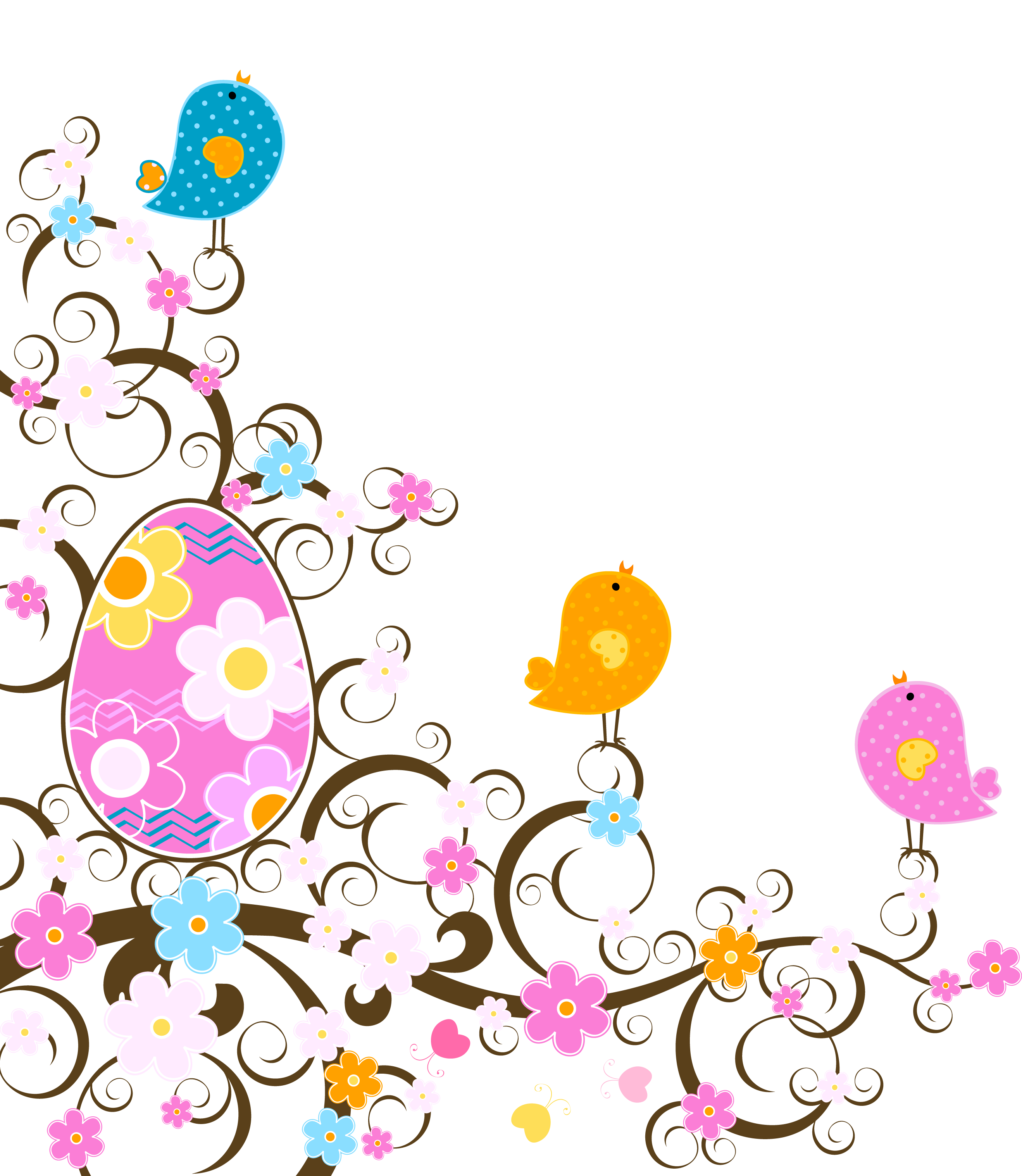 Easter Decoration with Flowers PNG Transparent Clipart.