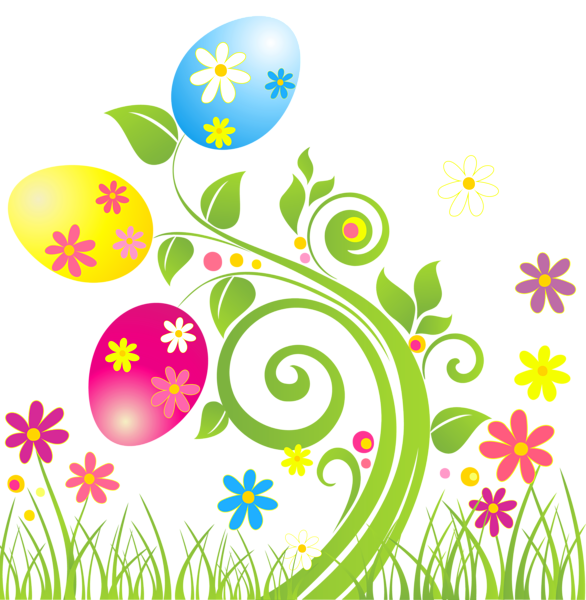 Easter Egg Decoration with Flowers PNG Transparent Clipart.