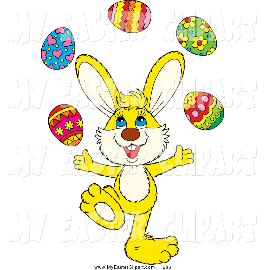 Bunny With Easter Eggs Clipart.