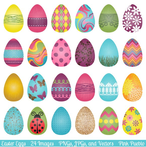 Easter Eggs Clipart and Vectors ~ Illustrations on Creative Market.