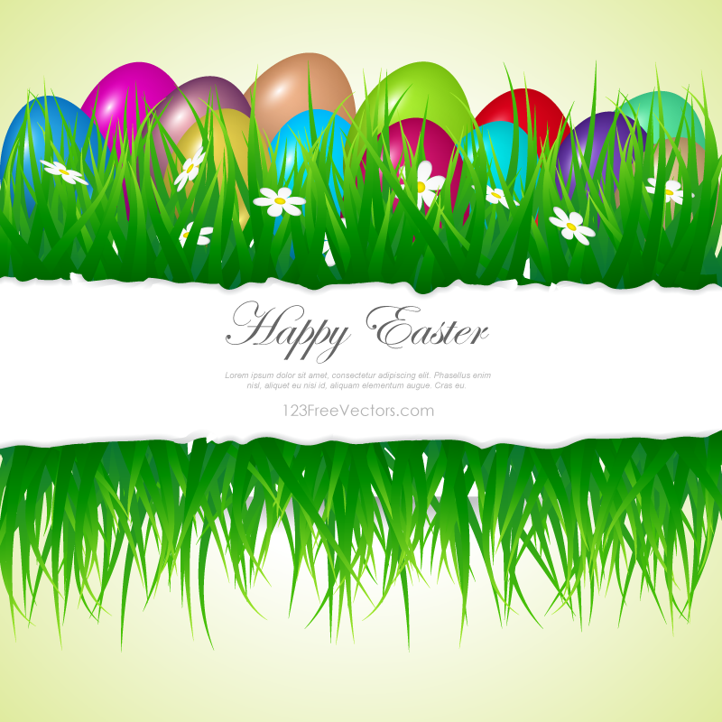 Easter Eggs In Grass Clipart.