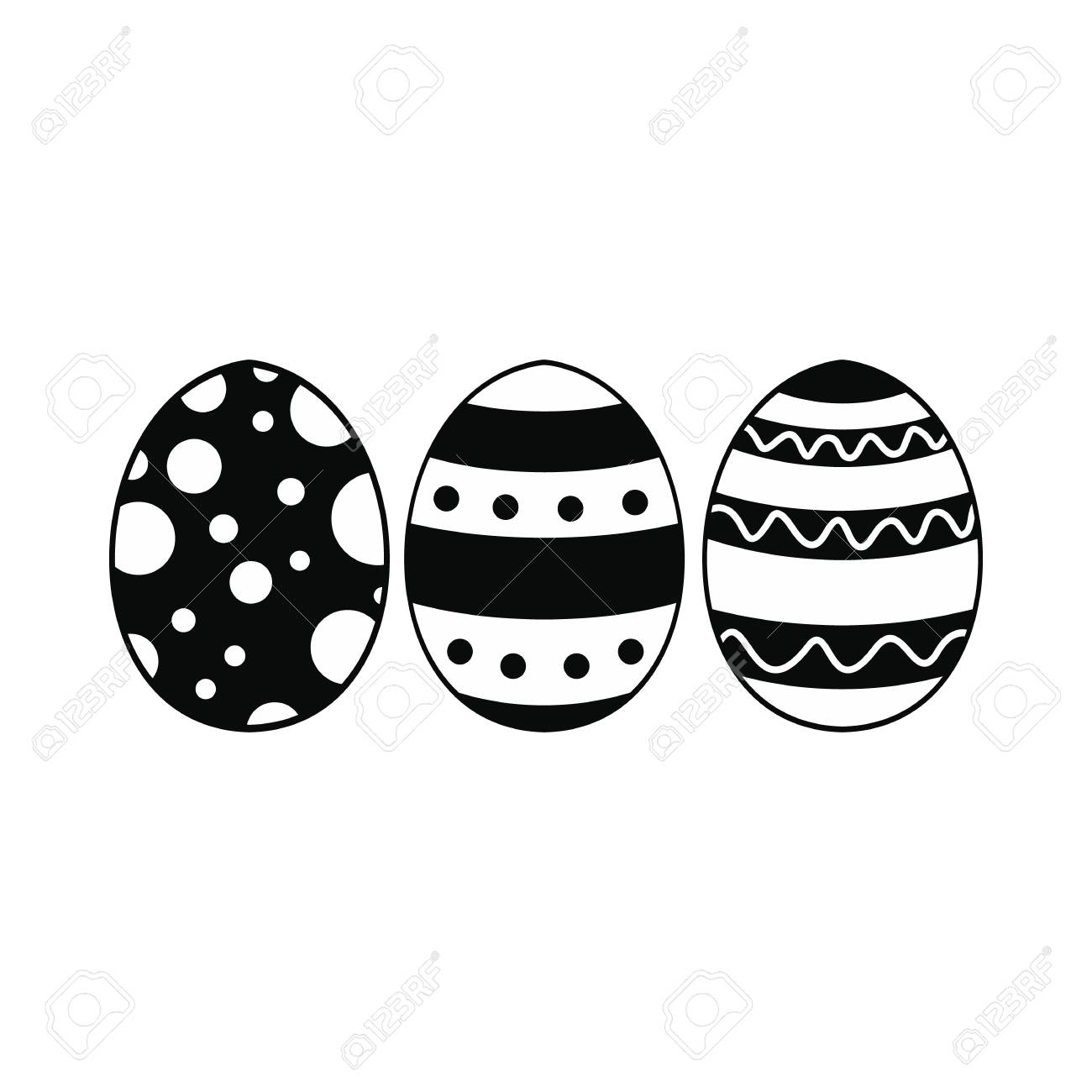 Easter eggs black simple icon isolated on white background.