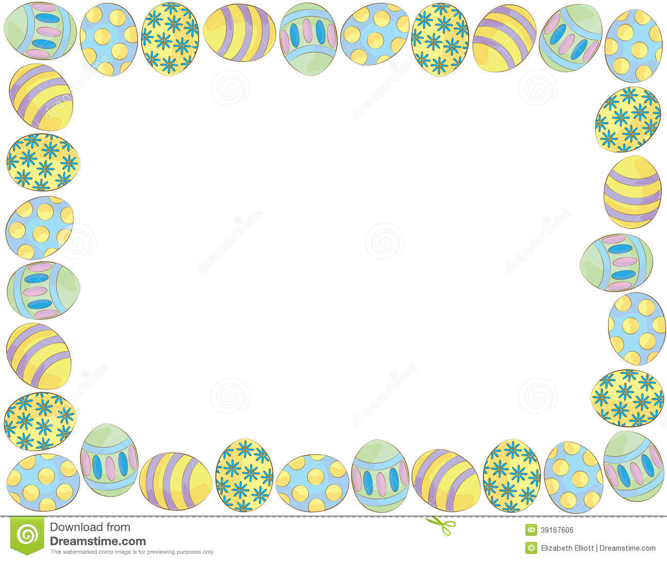 easter egg border clipart to color