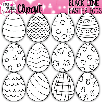 Easter Egg Clipart Black and White.