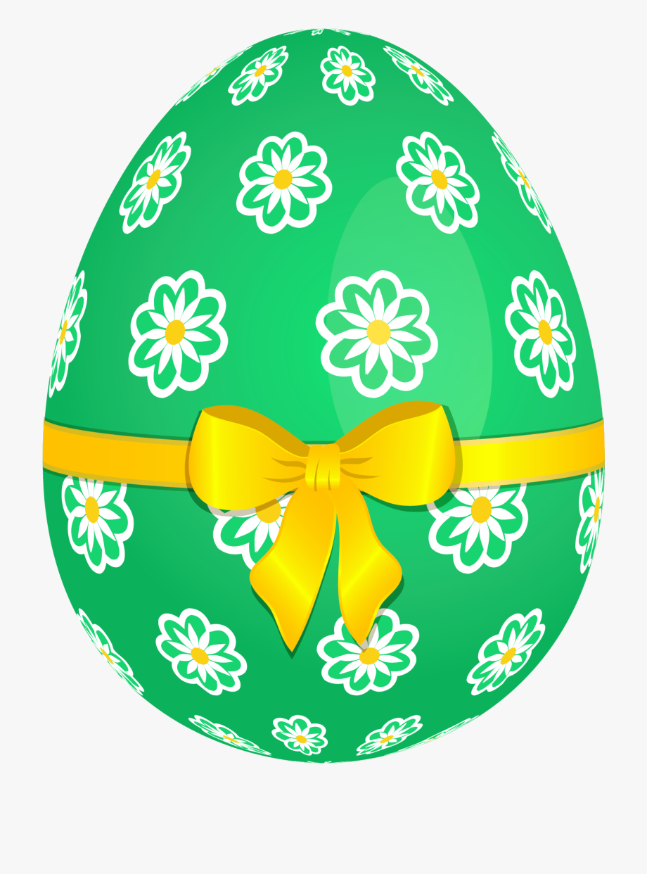 And Picture Egg Yellow Bow Green Flowers Clipart.