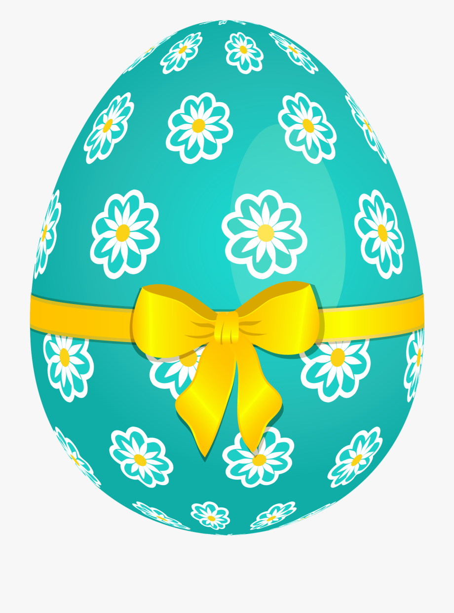 Clip Art Sky Blue Easter Egg With Flowers And Yellow.