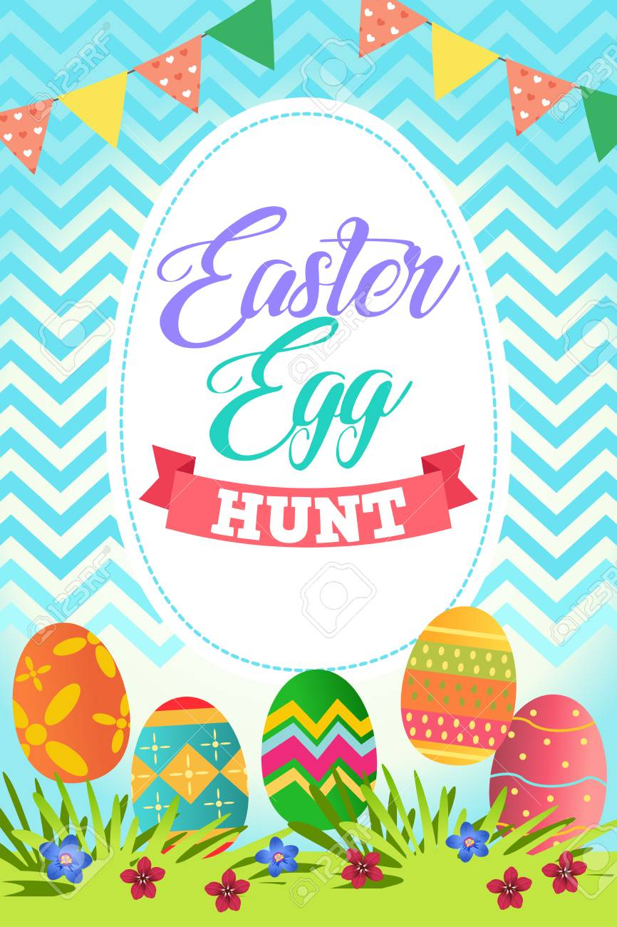 A vector illustration of Easter Egg Hunt Poster.