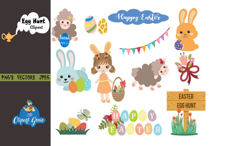 Easter egg hunt Clipart, Bunny Clipart, Easter Basket Clipart, Easter egg  hunt Clipart, Easter egg clipart, Easter Clipart, egg hunt.
