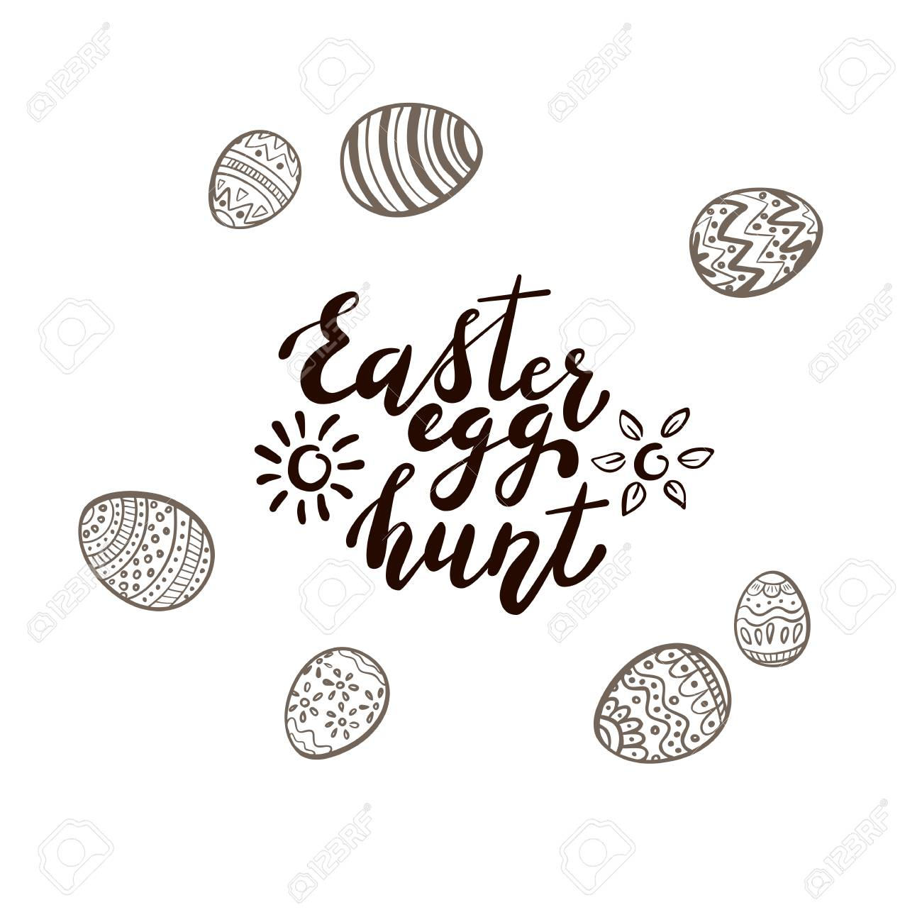 Black Easter lettering with sun, flowers and set of eggs with...