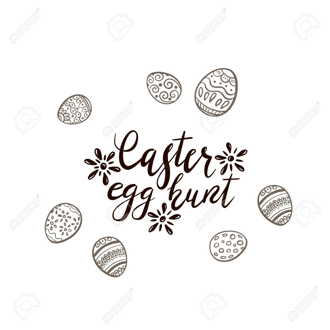 Black Easter lettering with flowers and set of eggs with pattern...