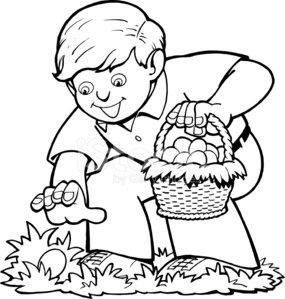 Boy Easter Egg Hunt premium clipart.