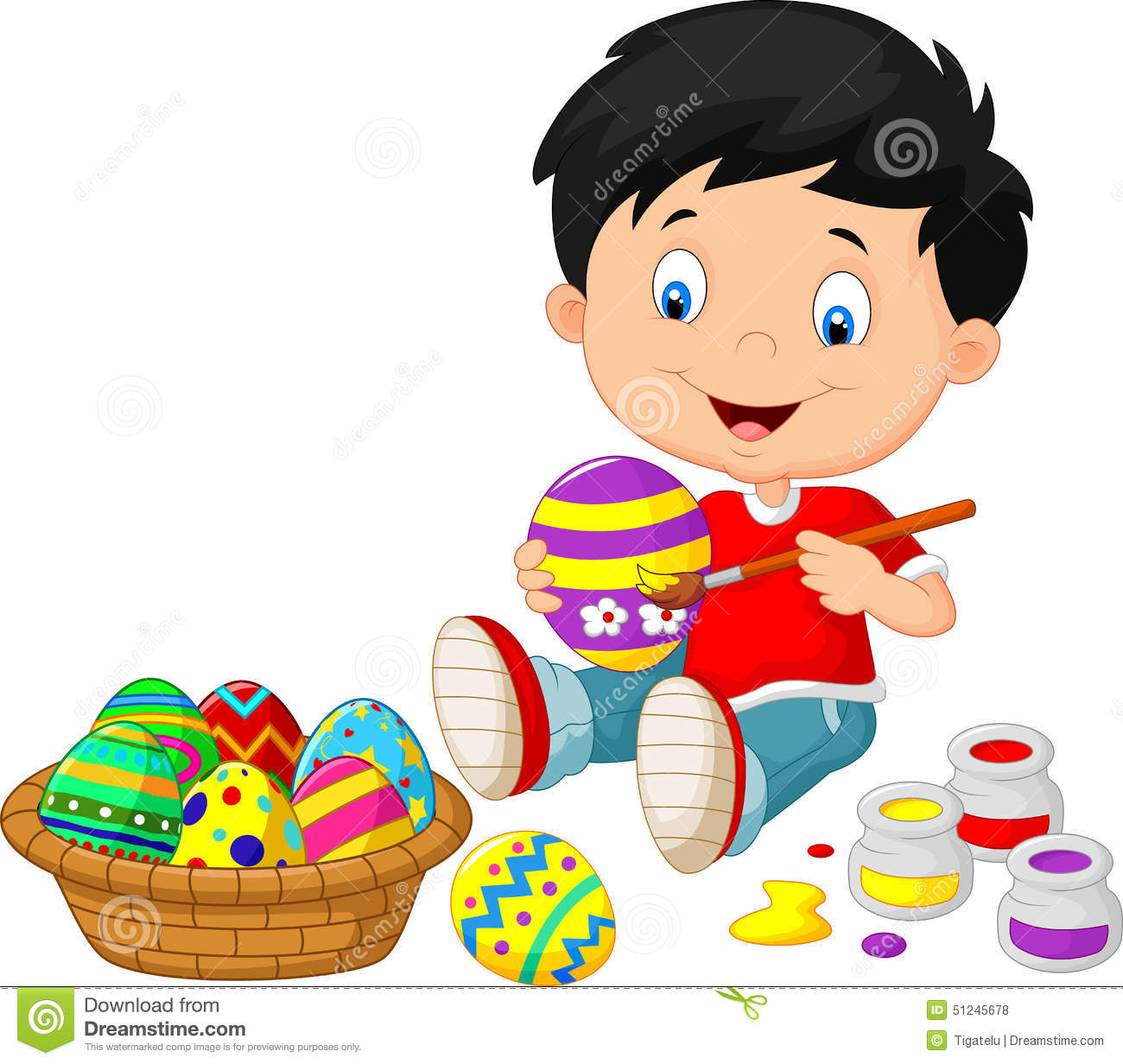 Little Kids Cartoon Painting Easter Egg Stock Vector.