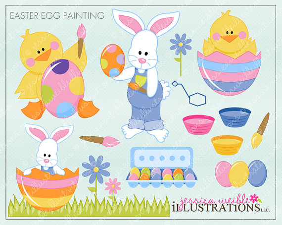 Easter Egg Painting Cute Digital Clipart for Invitations, Card.