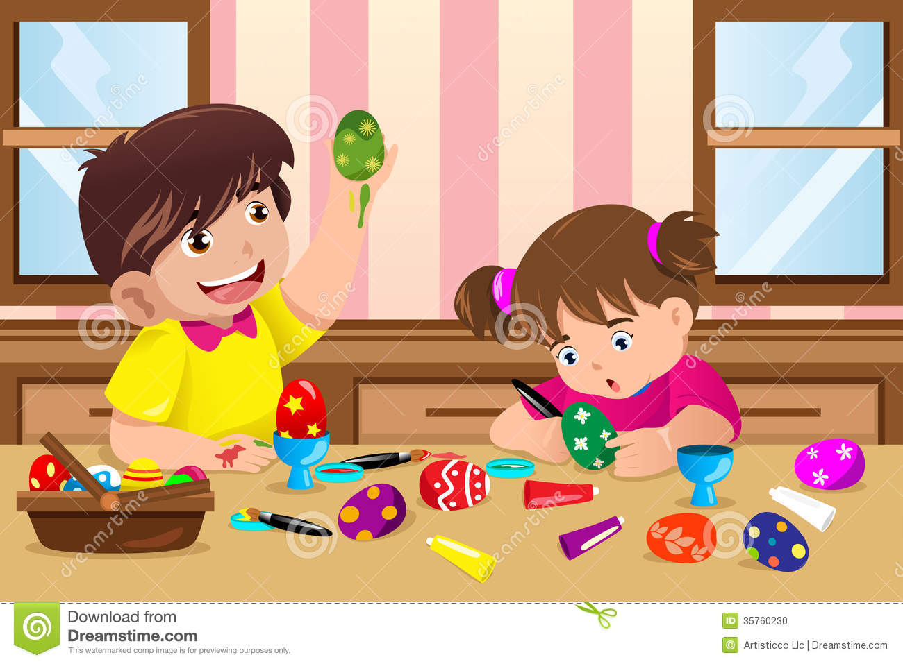 Kids Painting Easter Eggs Stock Photo.