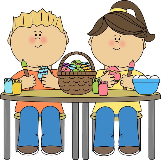 Kids Painting Easter Eggs Clip Art.