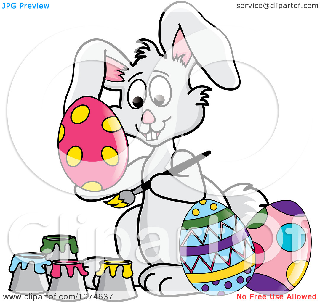 Clipart Gray Easter Bunny Painting Eggs.