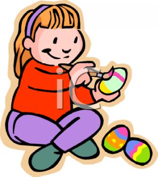 Little Girl Painting Easter Eggs.