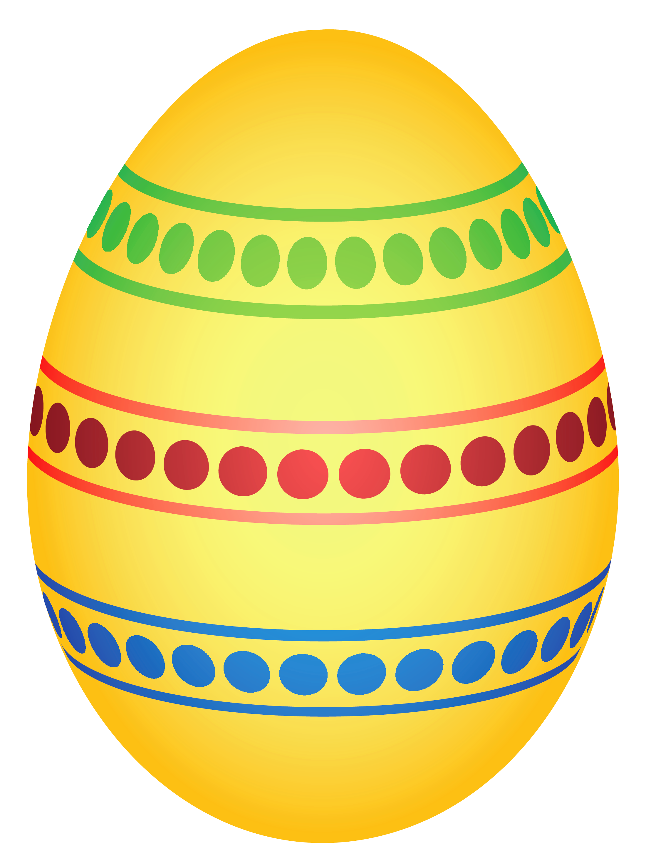 Yellow Colorful Dotted Easter Egg PNG Clipairt Picture.