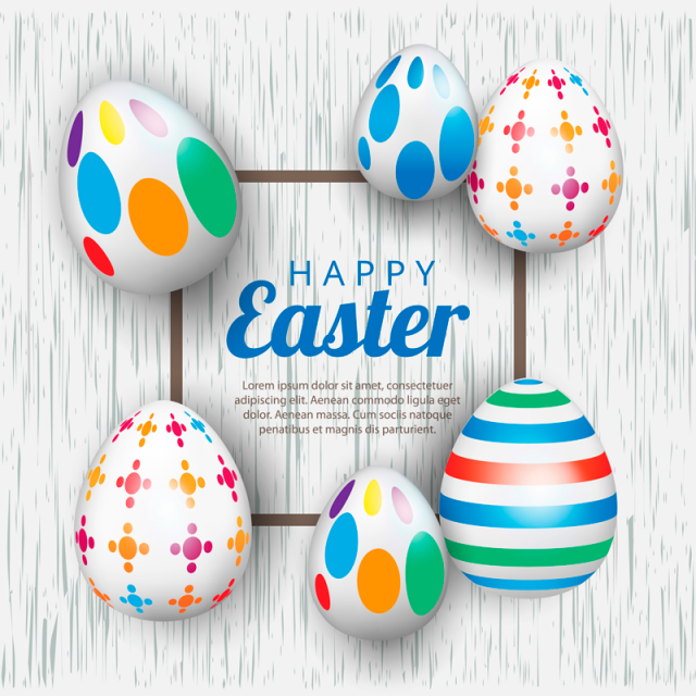 Easter Banner Background Template With Beautiful Eggs. Vector.