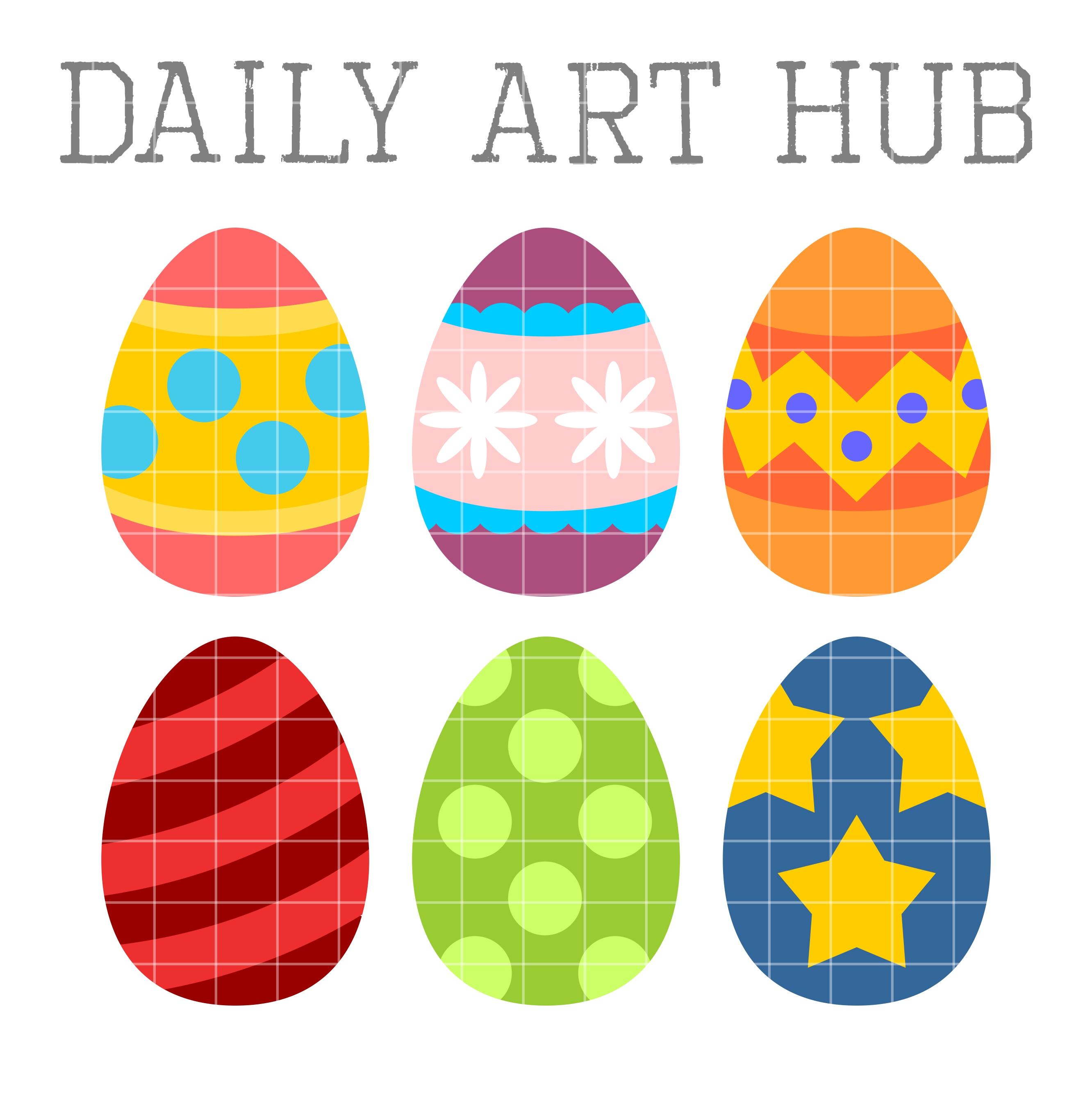 Cute Easter Eggs Clip Art Set.