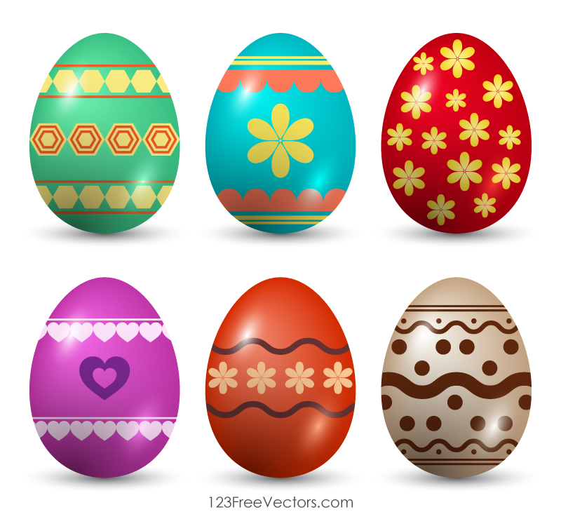 Painted Easter Eggs Clip Art.