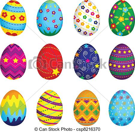 Vector Clipart of Easter eggs.