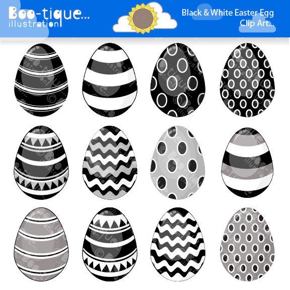 Easter Eggs Clipart. Easter Clip Art for Instant Download. Black.