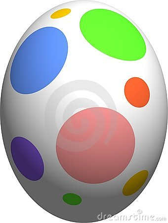 Easter Eggwith Polka Dots Black And White Clipart.