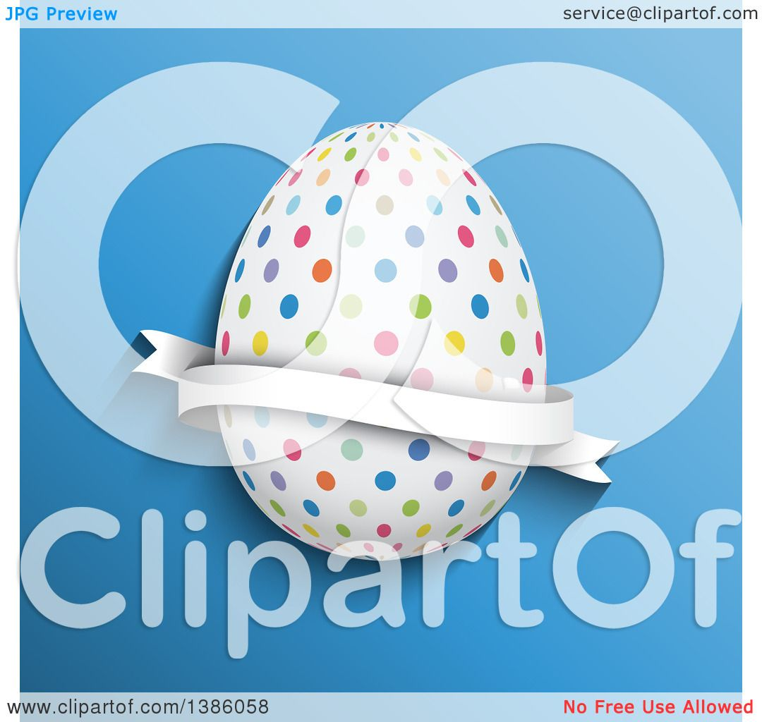 Clipart of a 3d Colorful Polka Dot Easter Egg with a Ribbon Banner.