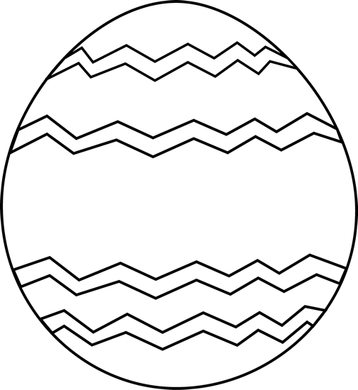 Easter Egg With Polka Dots Black And White Clipart.