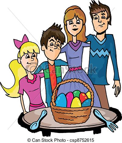 Clipart Vector of easter family, hand drawn illustration.