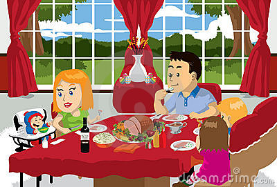 Family Meal Time Clipart.