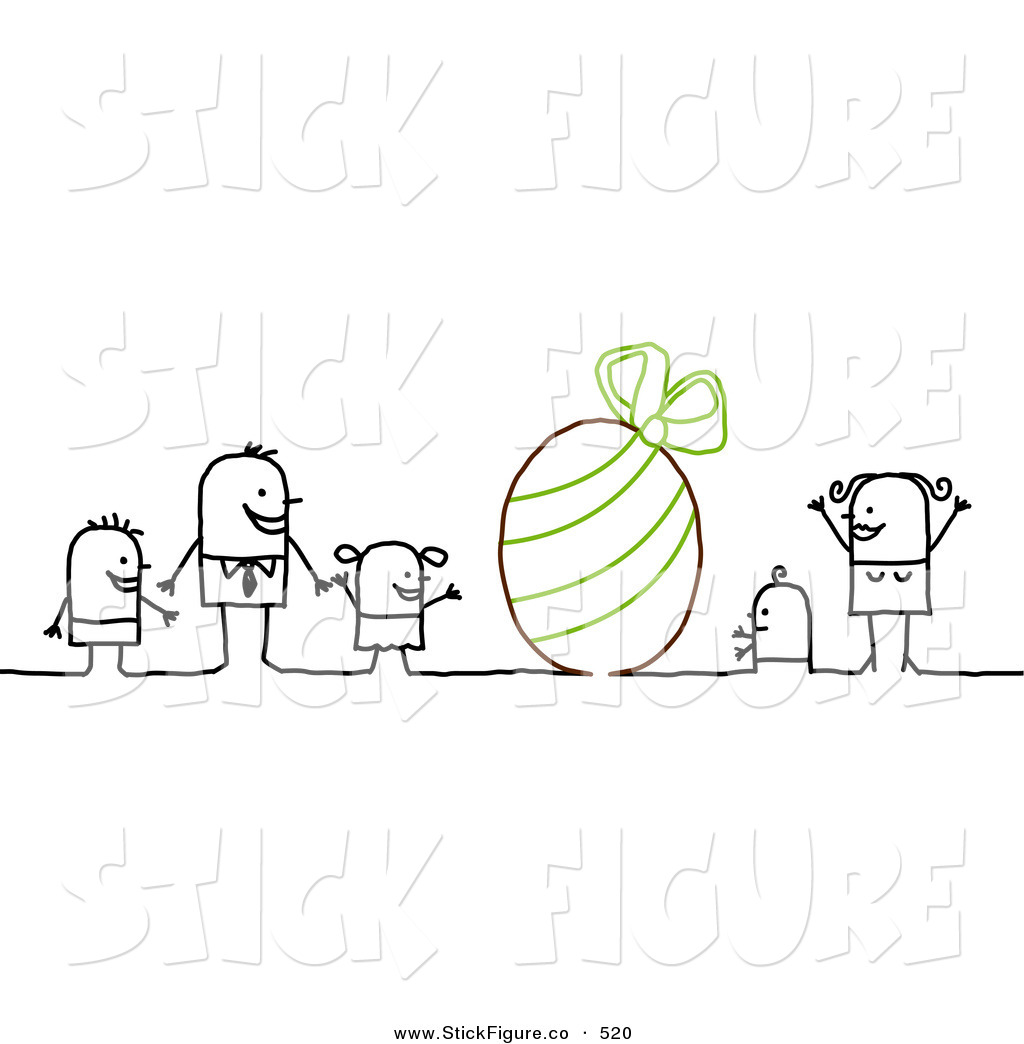 Clip Art of a Stick Figure Character Family with a Giant Easter.