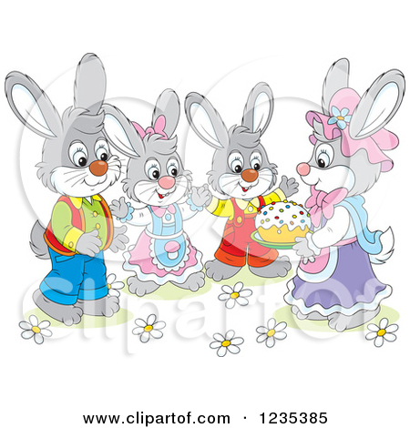 Clipart of a Family of Dressed Rabbits with an Easter Cake.