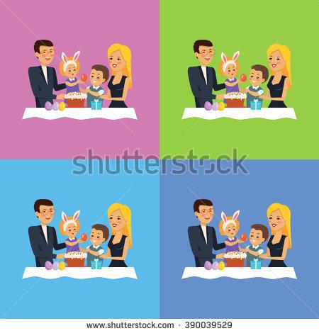 Easter Family Stock Photos, Royalty.
