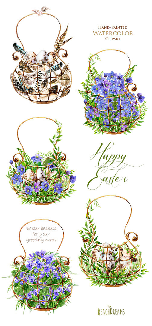 Easter watercolor clipart floral elements feathers by ReachDreams.