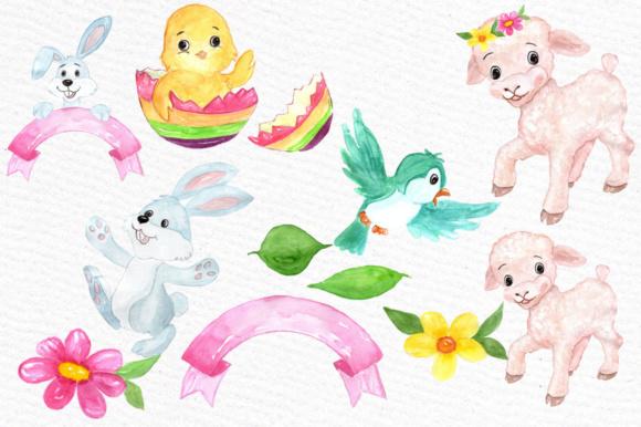 Watercolor Easter kids clipart Watercolor Lamb Clipart Easter egss Easter  basket Flowers clipart.