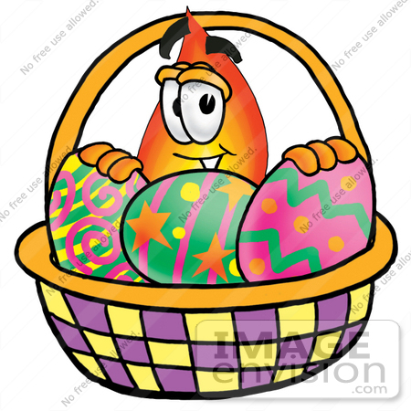 Clip Art Graphic of a Fire Cartoon Character in an Easter Basket.