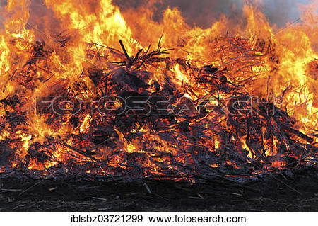 Stock Photograph of Annual Easter fire, Grossburgwedel, Lower.
