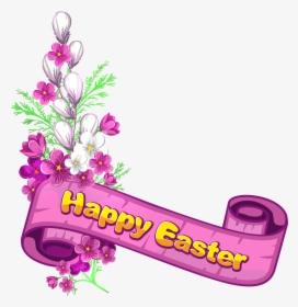 Flower Easter Religious Border Clipart.