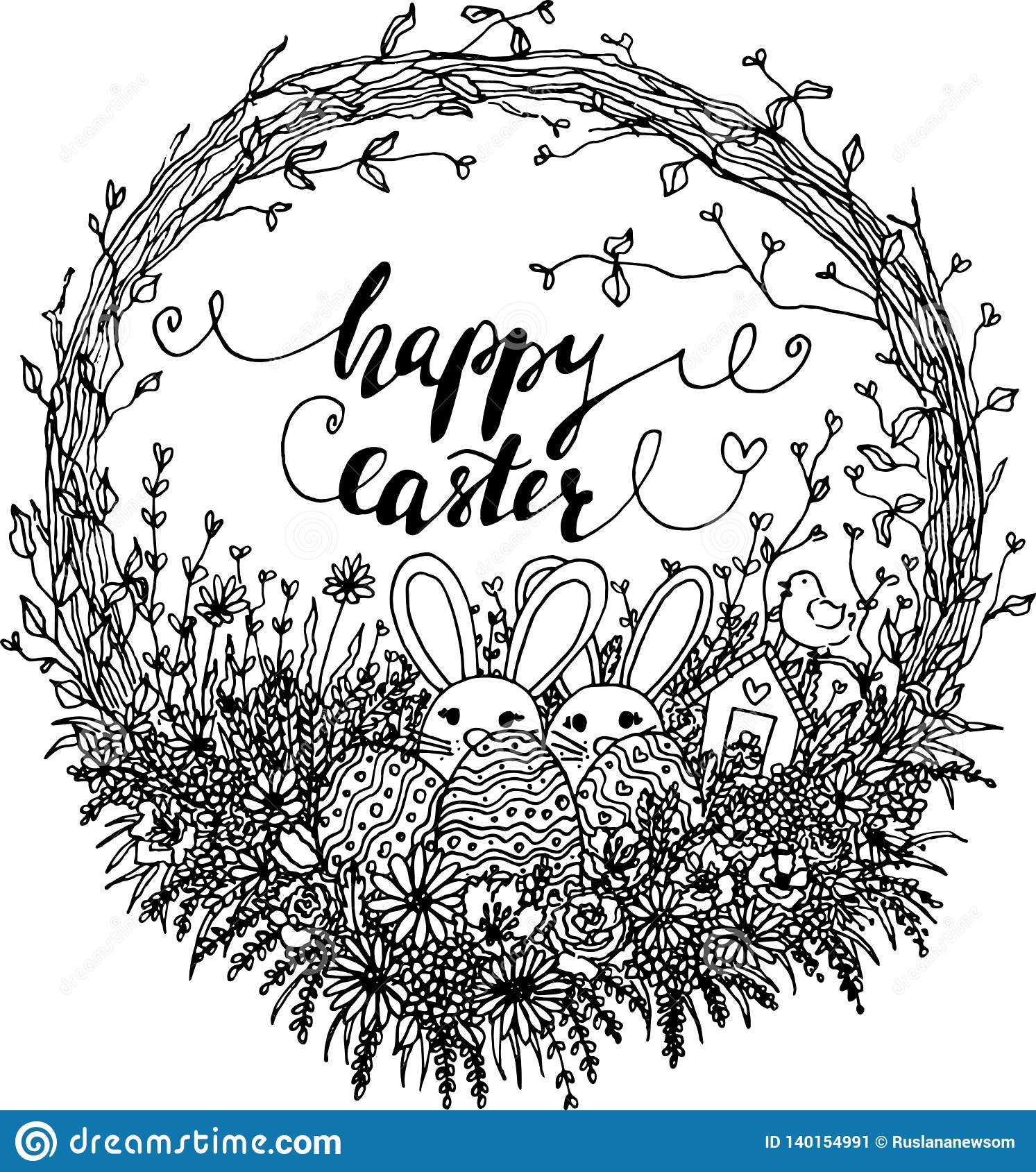 Vector Hello Easter Wreath Illustration. Black And White Easter.