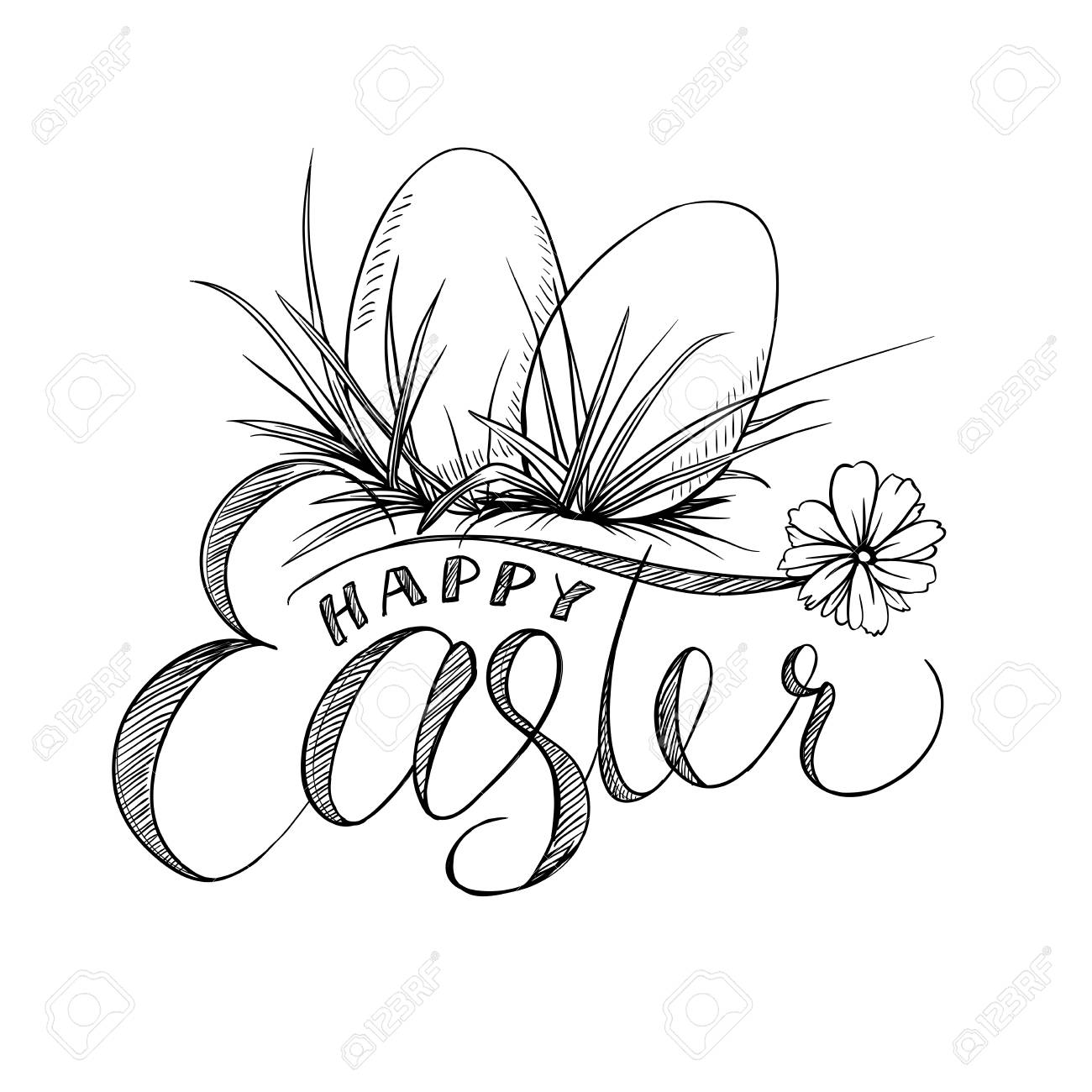 Easter Lettering and Two Eggs with Grass, Camomile Flower. Black...