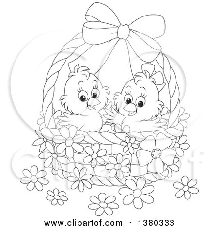 Clipart of a Black and White Basket with Two Cute Easter Chicks and.