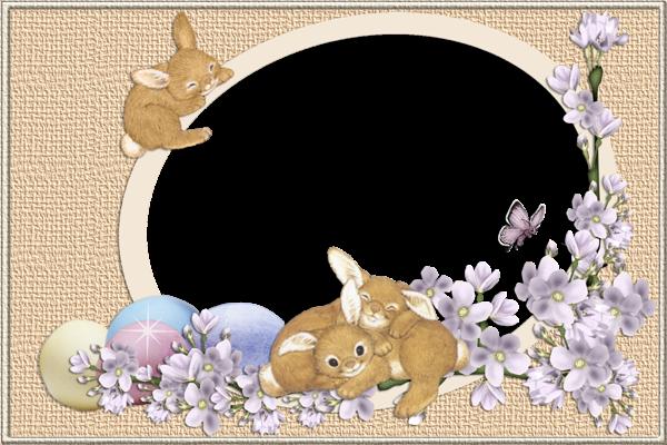 Easter Bunnies Transparent PNG Frame.
