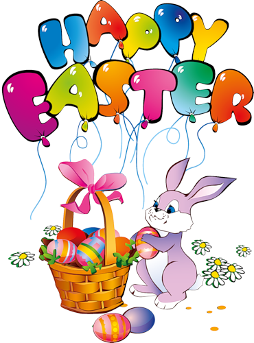 Happy Easter Bunny Transparent Clipart.